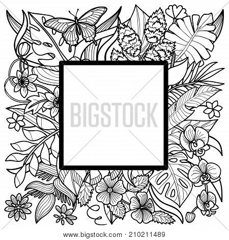 Tropical flowers and plants square frame. Floral composition on white background for greeting cards, mock ups, templates.