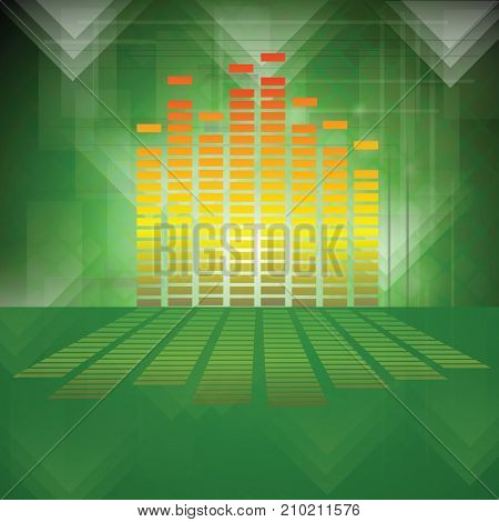 colorful illustration with equalizer on green background