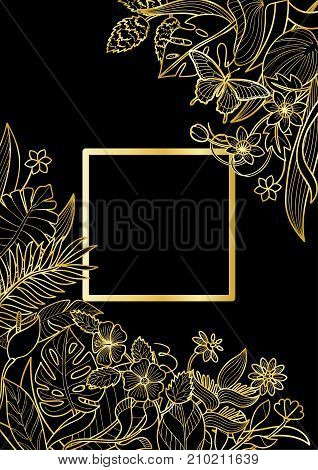 Tropical flowers and plants square frame. Floral gold A4 composition on black background for greeting cards, luxury mock ups.