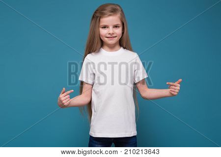 Little Beauty Girl In Tee Shirt With Long Brown Hair