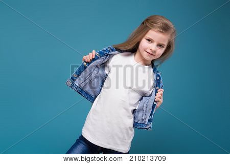 Little Beauty Girl In Jean Jacket With Long Brown Hair