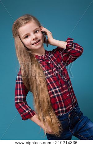 Pretty Girl In Shirt With Long Hair Hold The Phone