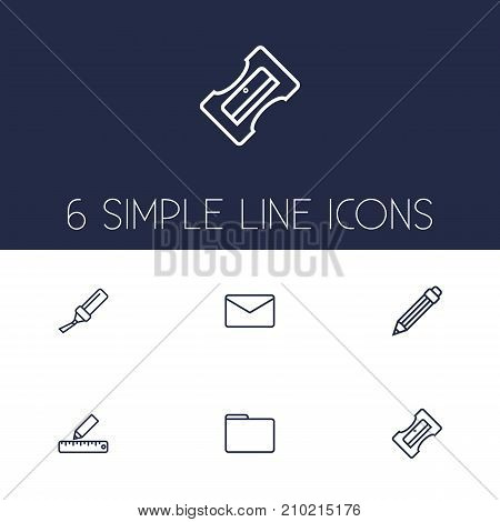 Collection Of Pencil, Drawing, Sharpener And Other Elements.  Set Of 6 Tools Outline Icons Set.