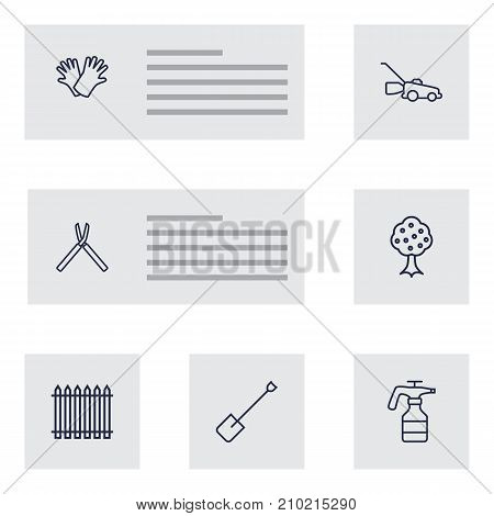 Collection Of Atomizer, Palisade, Grass-Cutter And Other Elements.  Set Of 7 Farm Outline Icons Set.