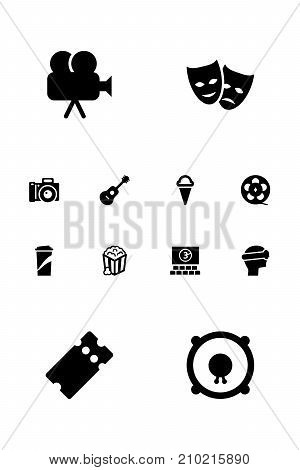 Collection Of Loudspeakers, Theater, Sorbet And Other Elements.  Set Of 12 Pleasure Icons Set.