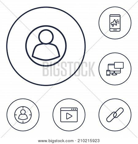 Collection Of Url, Guest, Targeting And Other Elements.  Set Of 6 Optimization Outline Icons Set.