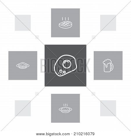 Collection Of Pasta, Porridge, Beer And Other Elements.  Set Of 5 Eat Outline Icons Set.