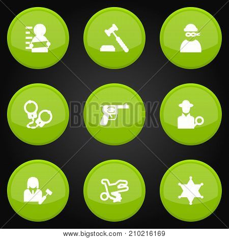 Collection Of Victim, Inspector, Suspicious And Other Elements.  Set Of 9 Criminal Icons Set.