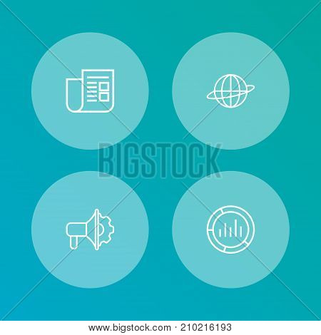 Collection Of Newspaper, Brand Awareness, Advertising Agency Elements.  Set Of 4 Trade Outline Icons Set.