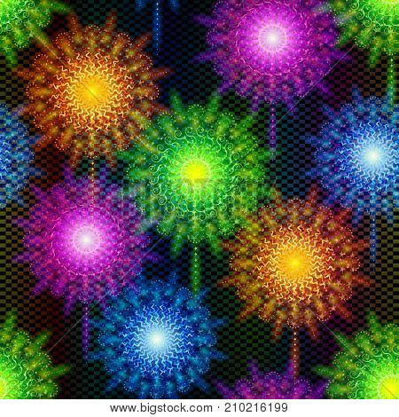 Firework Seamless Background of Various Colors. Tile Pattern for Holiday Design. Eps10, Contains Transparencies. Vector