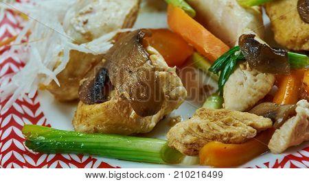 Szechuan stir-fry Chengdu Chicken  close up meal