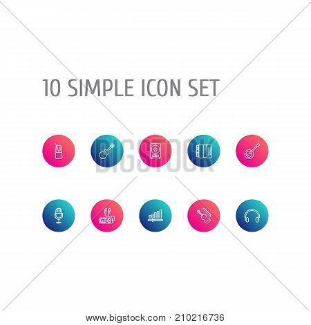 Collection Of Fiddle, Guitar, Harmonica And Other Elements.  Set Of 10 Song Outline Icons Set.