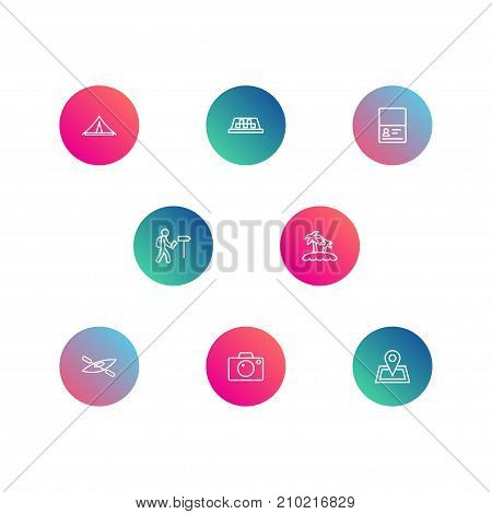 Collection Of Photo, Boat, Certificate And Other Elements.  Set Of 8 Travel Outline Icons Set.