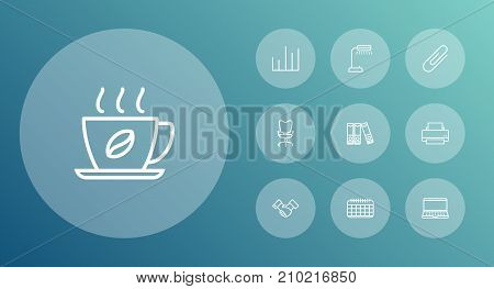 Collection Of Fastener Paper, Printing Machine, Reading-Lamp And Other Elements.  Set Of 10 Work Outline Icons Set.