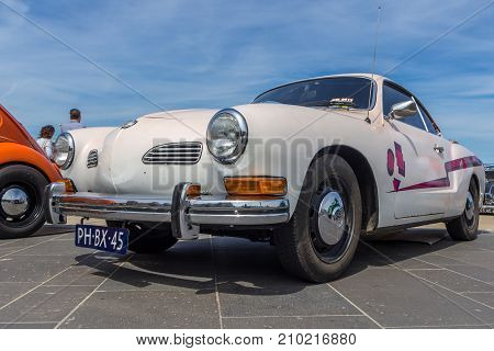 The Hague the Netherlands - 21 May 2017: VW classic karmann ghia vehicle at Scheveningen beach car show