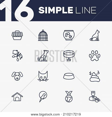 Collection Of Aquarium, Bird Prison, Kennel And Other Elements.  Set Of 16 Animals Outline Icons Set.
