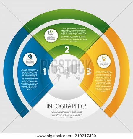 Modern Vector Illustration 3D. The Template Of A Circular Infographic With 3 Elements, Sectors And P