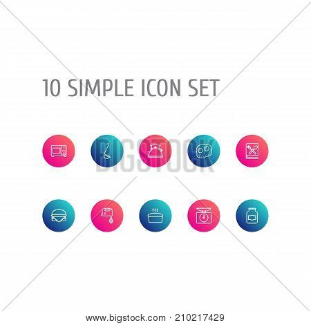 Collection Of Bread, Ladle, Hamburger And Other Elements.  Set Of 10 Kitchen Outline Icons Set.