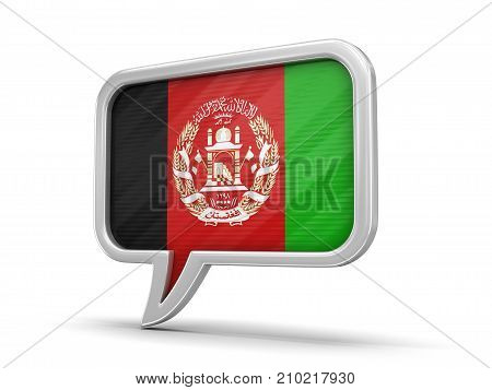 3d illustration. Speech bubble with Afghani flag. Image with clipping path