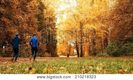 Beautiful forest, run the guy in the park. Running athletes park on a run early morning. Several children are running woods doing sports. Healthy lifestyle.