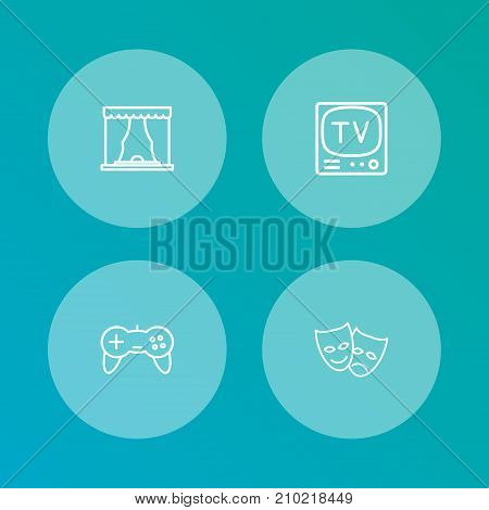 Collection Of Theater, Tv Set, Masks And Other Elements.  Set Of 4 Entertainment Outline Icons Set.