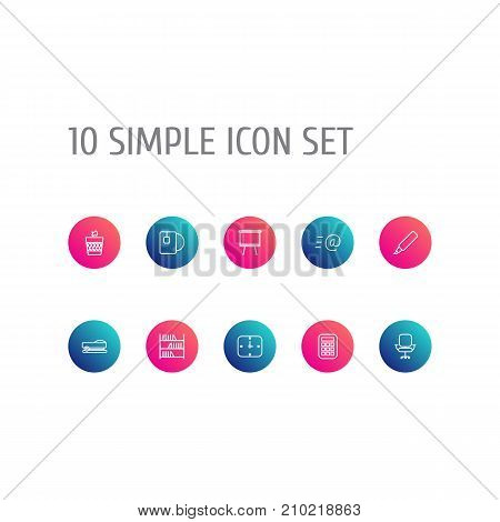 Collection Of Staple, Board Stand, Marker Elements.  Set Of 10 Office Outline Icons Set.