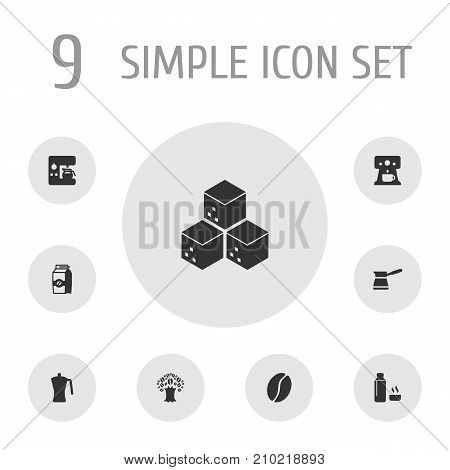 Collection Of Arabica Bean, Sweetener, Seed Pack And Other Elements.  Set Of 9 Drink Icons Set.