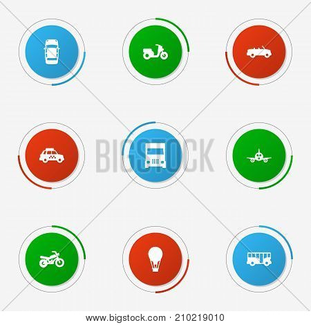 Collection Of Autobus, Truck, Taxicab And Other Elements.  Set Of 9 Transport Icons Set.