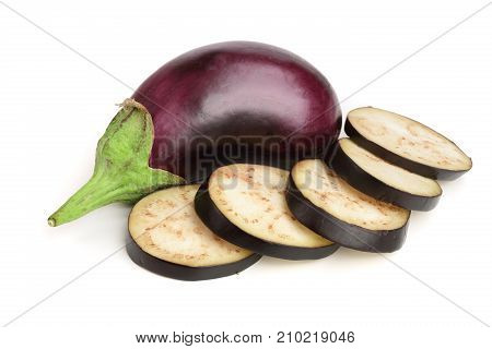 sliced eggplant or aubergine vegetable isolated on white background.