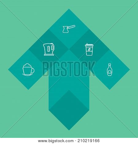 Collection Of Coffee, Pot, Kettle And Other Elements.  Set Of 5 Beverages Outline Icons Set.
