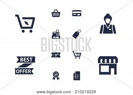 Collection Of Payment, Guarantee, Till And Other Elements.  Set Of 12 Store Icons Set.