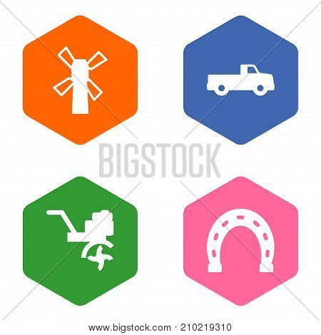 Collection Of Talisman, Windmill, Pickup And Other Elements.  Set Of 4 Harvest Icons Set.