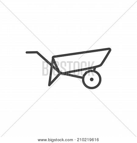 Vector Barrow Element In Trendy Style.  Isolated Wheelbarrow Outline Symbol On Clean Background.
