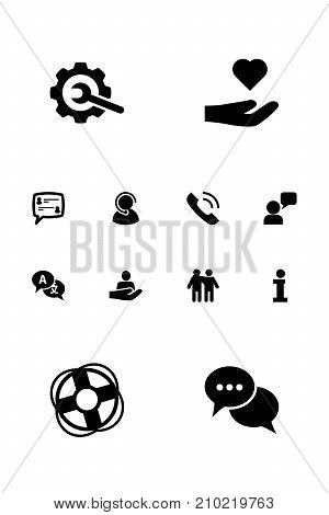 Collection Of Talk, Call, Support And Other Elements.  Set Of 12 Backing Icons Set.
