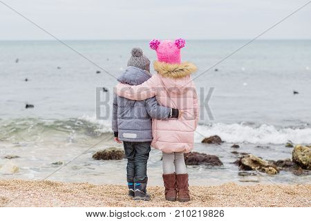 Little children stand in an embrace on the beach and look at the sea and ducks
