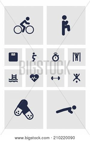Collection Of Heartbeat, Timer, Squat And Other Elements.  Set Of 12 Training Icons Set.