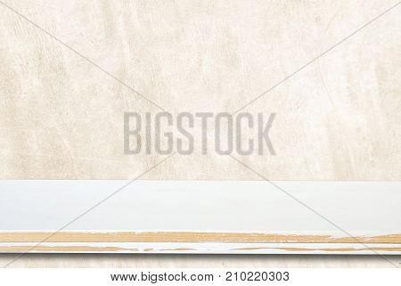 Empty white wooden table over grunge brown cement wall vintage background template product display montage