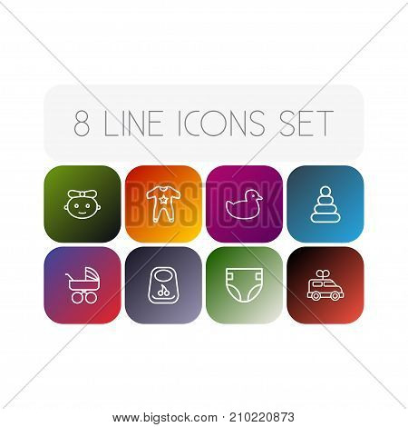 Collection Of Bib, Diaper, Baby And Other Elements.  Set Of 8 Child Outline Icons Set.