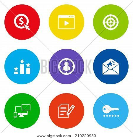 Collection Of Targeting, Responsive, Movie And Other Elements.  Set Of 9 Search Icons Set.
