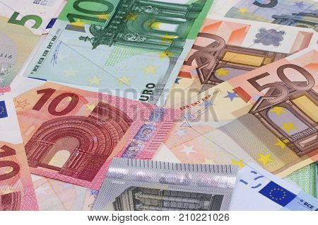 Euro Money Of Different Denominations Abstract Background.