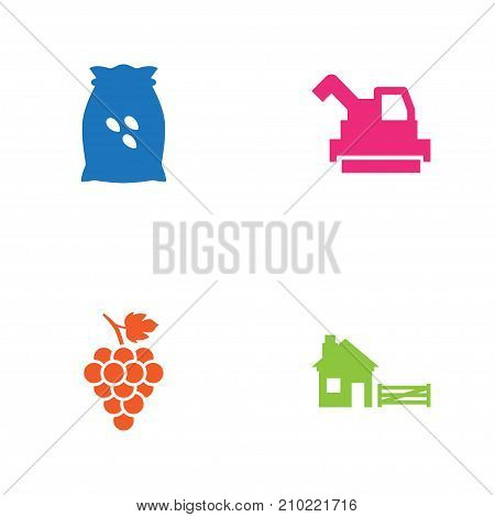 Collection Of Sack, Bulldozer, Ranch And Other Elements.  Set Of 4 Harvest Icons Set.