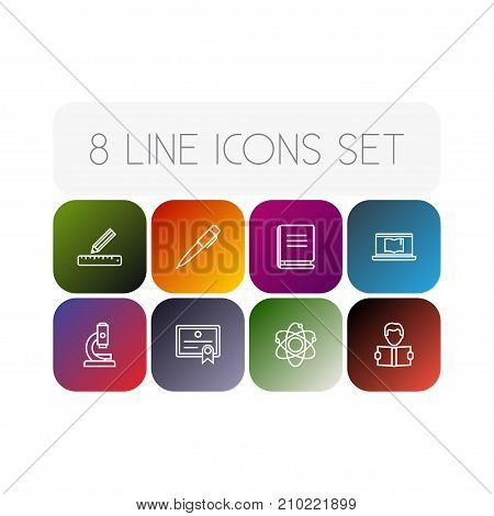 Collection Of Laptop, Diploma, Ruler And Other Elements.  Set Of 8 Studies Outline Icons Set.