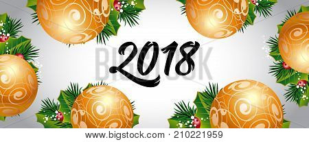 2018 lettering. Creative panoramic background with beautiful decorated Christmas baubles. Handwritten text, calligraphy. Can be used for greeting cards, posters and leaflets