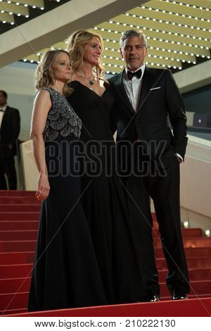 CANNES, FRANCE - MAY 12, 2016: Jodie Foster, George Clooney, Amal Clooney  attend the 'Money Monster' Premiere. 69th annual Cannes Film Festival at the Palais des Festivals