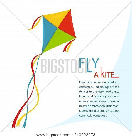 Fly Kite in Sky, color kites sign, Summer wing festival fun. Vector