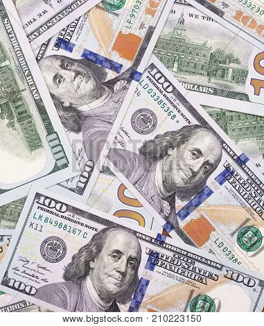 100 Us Dollar Abstract Money Cash Background.