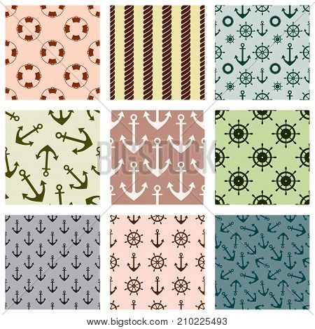 Set Of Vector Seamless Patterns With Anchor, Steering Wheel, Life Preserver And Rope Creative Geomet