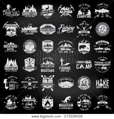 Summer camp, fishing, alpine and hiking club. Vector illustration. Set of vintage badges, labels, logos, silhouettes. Vintage typography collection with 36 items. Outdoors emblems on the chalkboard
