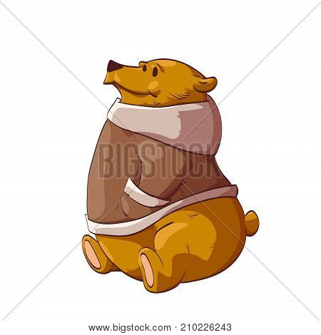 Colorful vector illustration of a cartoon brown bear or grizzly wearing a warm winter coat