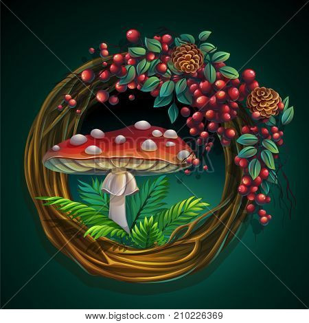 Vector cartoon illustration wreath of vines and leaves on a green background with ash berry cedar cones amanita mushroom